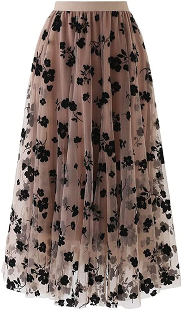 NP Floral Print A-line Pleated Long Skirts Summer Women Skirt