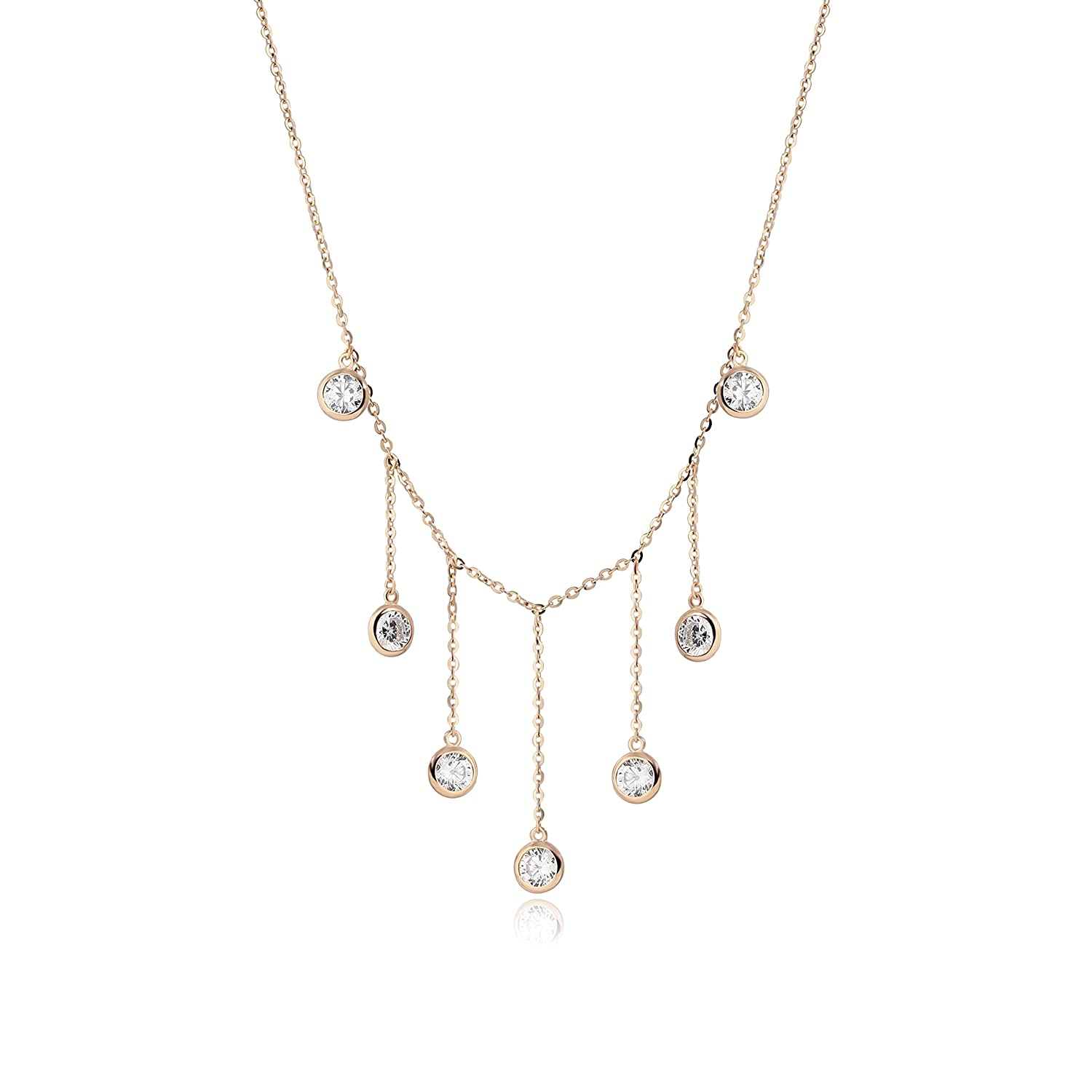 Elegant Necklace S925 Sterling Detroit Mall Silver National products Rose Gold Dressy