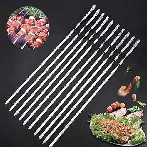 TSLBW 10 Pinchos Brocheta de Barbacoa Acero Inoxidable Metal para Barbacoa de Acero Palillos para Barbacoa Reutilizables para Carne,Camarones,Pollo,Verduras,Camping Utensilios de Cocina