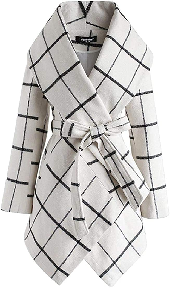 Women's Long Sleeve Fashion Trench Belted Loose Jacket Overcoat with Pockets