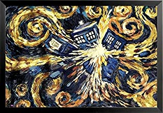 Buyartforless Work Framed Doctor Who Exploding Tardis NO Border 36x24 Art Print Poster Television Show Dr Who Van Gogh Inspired Time Travel, Blue