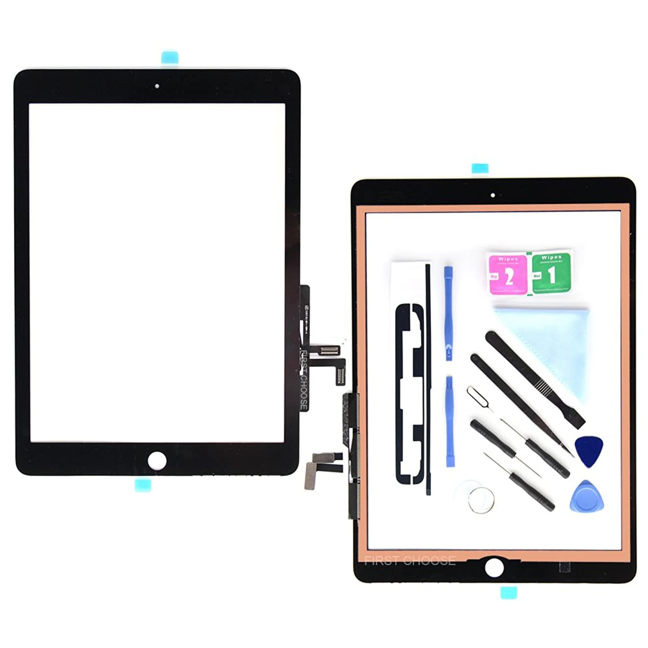Black Digitizer for iPad 9.7 (A1822, A1823)/Ipad 5 Ipad Air 1st Touch Screen Digitizer - Front Glass Replacement with Tool Repair Kits + Adhesive