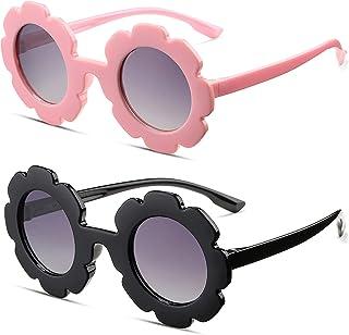 Kids Round Flower Sunglasses, Cute Daisy Sunglasses for Toddler Girls Boys Age 2-4