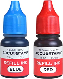 ACCU-Stamp Ink Refill for Pre-Ink Stamps, Blue and Red, Pack of 2.35oz/Each (032958) (4-Pack)