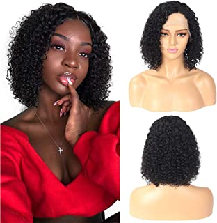 Missexy 10A Brazilian Curly Human Hair Bob Wigs for Black Women Brazilian Remy Hair Jerry Curly Lace Front Wigs 150% Density Pre Plucked with Baby Hair 8 Inches