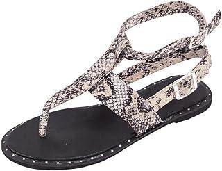 Women T Strap Ankle Strap Buckle Flat Sandals Shoes Studded Leopard Animals Print Flip Flops by RJDJ