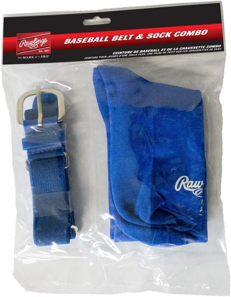 NWT RAWLINGS Youth Boys Baseball Belt Sock Combo Pack Set BLACK Over Calf Socks