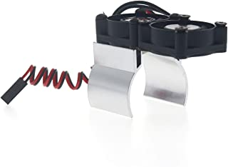 FairytaleMM RC Car Motor Disipador térmico 550 540 Motor Ventiladores de Doble refrigeración Disipador térmico de aleación para Traxxas RC4WD Tamiya Axial SCX10 D90 HPI Car (Plata)