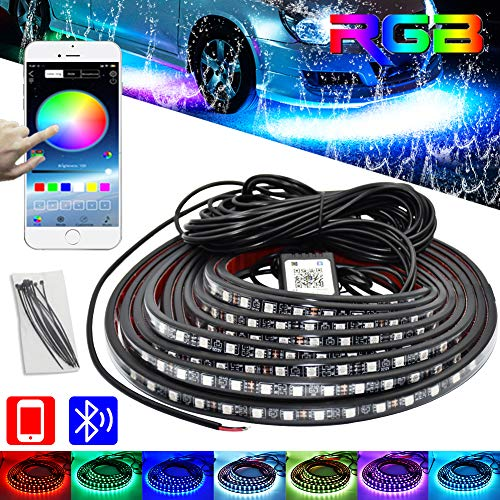 Car Underglow LED Light KitsBluetooth 40 RGB Color LED Strip Lights with App ControlSync to Music 4 PCS2x59  2x75 inch Waterproof for All Cars