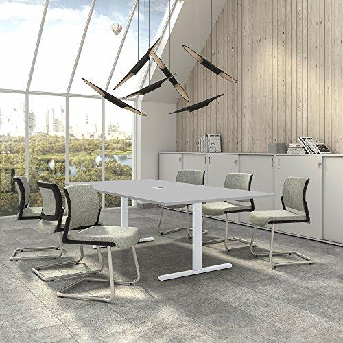 Easy Konferenztisch 240x120 cm Lichtgrau mit ELEKTRIFIZIERUNG Besprechungstisch Tisch, Gestellfarbe:Weiß