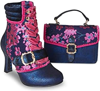 Ebbly Boutique Gorgeous Navy and Blue Boots and Matching Bag with Floral Brocade Will go for Any Events Like Party/Weddings Cocktails Occasions