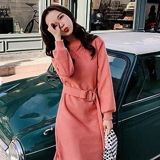 huangbeiling 2019款秋冬中长款内搭两件套毛衣长裙过膝针织连衣裙