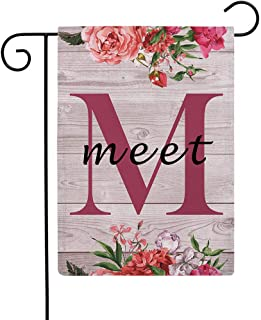 """ULOVE LOVE YOURSELF Flowers Small Garden Flags with Monogram Letter M """"Meet"""" Double Sided Burlap Garden Flags 12.5×18 Inch..."""