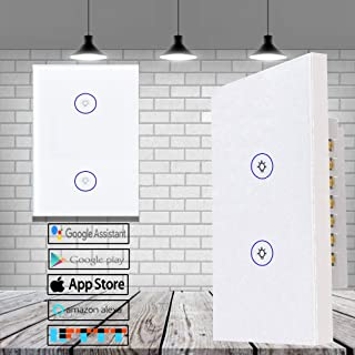 LightSmart Home-Switch Dimmer Light Smart Remote-Control, Ceiling Lights Wireless Touch Panel, Alexa Compatible, Wireless Wall Outlet (2 gang in 1 plate)