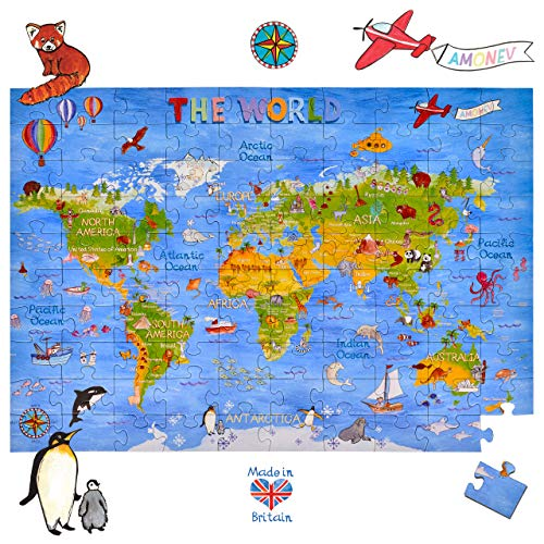 World Map Floor Puzzles 100 Pieces World Map Puzzles for Both Table and Floor with Easy to Handle Thick Pieces Making it a Great Gift for Any Occasion