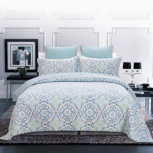 Colcha acolchada de retazos, edredón doble reversible, 3 piezas, 100% algodón, estampado para todas las estaciones, cómoda colcha con fundas de almohada, manta, ropa de cama, tamaño king: 230 * 250 cm