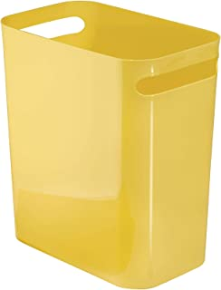 iDesign Una Rectangular Trash Handles, Waste Basket Garbage Can for Bathroom, Bedroom, Home Office, Dorm, College, 12