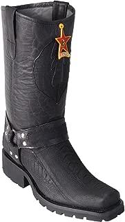 Original Black Greasy Finish Ostrich Leg Leather Biker Toe Boot