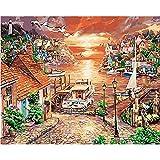 L.L.QYL Malerei Leinwand Sunset Digital Painting DIY Reines handgemaltes Ölgemälde