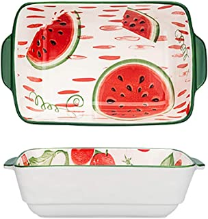 Oven Dish with Handle 13X22X6 Cm Ceramic 8.5inch Oven Proof Dish for Home Kitchen (Color : E)