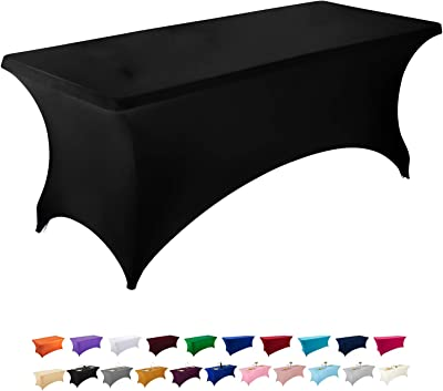Peomeise 6FT Spandex Table Cover Rectangular Stretch Spandex Tablecloth (Black,6FT)