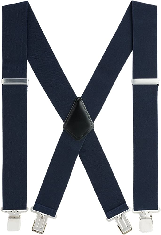 Suspenders for Men, with Heavy Duty Clip Wide X-Back for Work