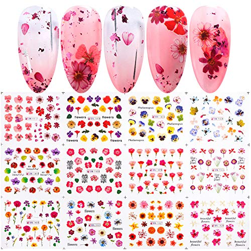 Macute Floral Nail Stickers Nail Decals 12 Sheets Blossom Designs Nail Tattoo Sliders Colorful Water Transfer Flowers for Women Girls DIY Nail Arts Decorations