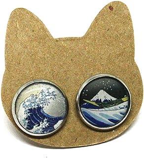 Orecchini a lobo in acciaio La grande onda di Kanagawa -Orecchini arte - Orecchini a lobo - Orecchini anallergici - Orecch...