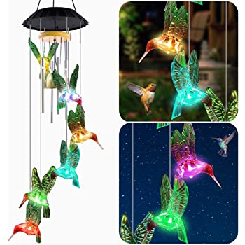 AceList Hummingbird Wind Chimes, Mobile LED Solar Powered Color Changing Outdoor Hanging Decoration Colorful Light Up Patio, Porch, Deck, Garden Decor Thanksgiving Gift