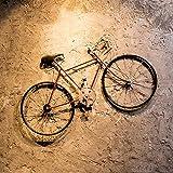 Colgante de Pared de Bicicleta de Hierro Forjado Retro, Estilo Industrial Creativo Colgante de Pared de Bicicleta de Hierro Forjado Decoración para Colgar en la Pared del Dormitorio (Color : Red)
