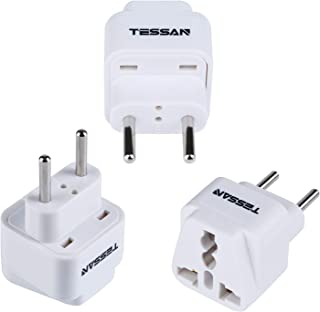 TESSAN European Travel Plug Adapter USA to The Most of Europe Travel Power Adapter Plug Kit for Italy Spain Greece(Type C) - 3 Pack(White