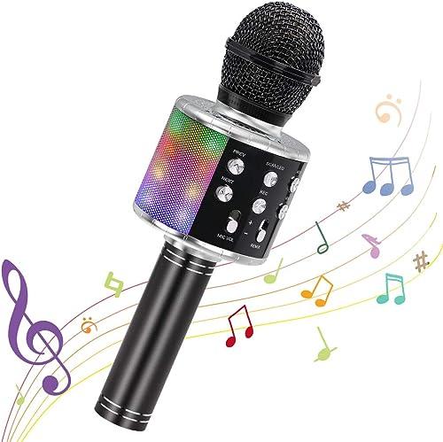 Ankuka Microphone Sans Fil Karaoké, Microphone Bluetooth 4 en 1 Portable Lecteur Karaoké avec Lumières LED de Danse, ...
