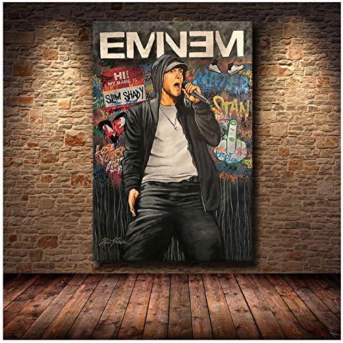 chtshjdtb Eminem Musik Hip Hop Rapper Star Album Cover Poster Leinwand Malerei Kunst Bild Druck Wohnkultur Geschenke-50X70Cm Kein Rahmen 1 Stck