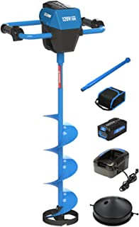 Clam Outdoors   120 Volt High Power Electric Ice Auger   Includes 8 Inch Auger, Blades & Cover, 120 Volt Battery, Charger & Bag, and 15 Inch Extension   109148