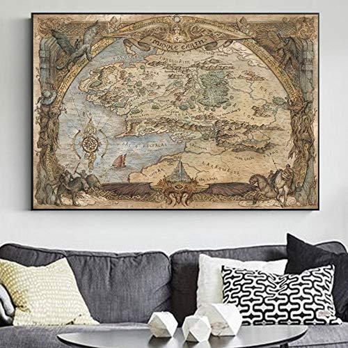 XuFan Der Herr der Ringe Mittelerde Karte Filmplakat und druckt Klassische Filmkunst Bild auf Leinwand Wandmalerei für Wohnzimmer 60x90cm Kein Rahmen
