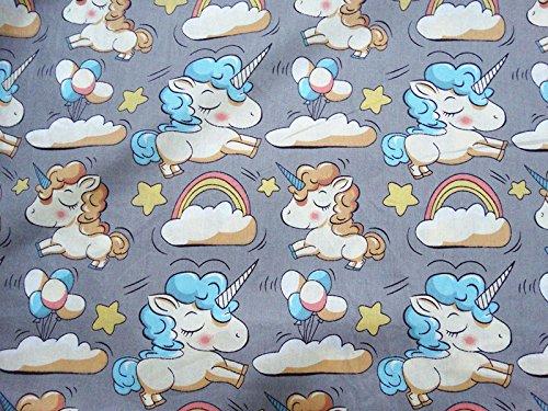 Tela unicornios grises corte por metros. 1 unidad es 0.50 m. x 1.60m 2 unidades 1 m x 1.60 m.confeccionar cortinas, colchas, cojines, canastillas, vestidos,100% algodon, manualidades de CHIPYHOME