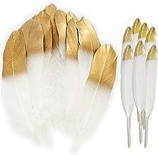 60PCS Plumas blancas naturales con punta empapada en oro,artesanía natural Plumas de ganso para disfraces, bolsos, decoración de aretes, atrapasueños bricolaje, decoraciones para fiestas en el hogar