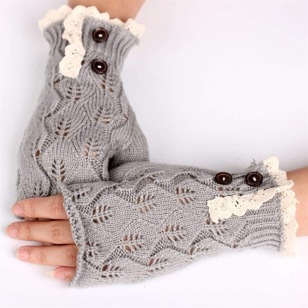 HABADOG Warm Lace Fingerless Gloves Soft Knitted Autumn Winter Knit Gloves Button Mittens Gloves 5 Colors (Color : Grey)