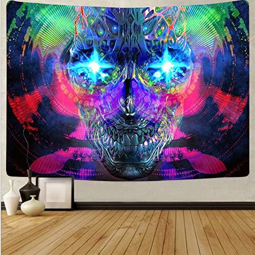 WERT Tapiz de Seta de Calavera Colorida de Dibujos Animados Tapiz de Arte de Calavera mágica Sala de Estar decoración del hogar Tela de Fondo A8 180x200cm