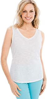 Women's Cotton Slub V-Neck Sleeveless Tank Top