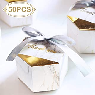 AerWo 50pcs Marble Favor Boxes, Gold Wedding Favor Boxes Hexagonal Wedding Candy Favor Boxes with Ribbons for Wedding and Bridal Shower Party