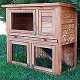 BUNNY BUSINESS a Due Piani con Run conigliera Hutches Guinea Pig House Home Slide out Pulizia Vassoio con 4Porte