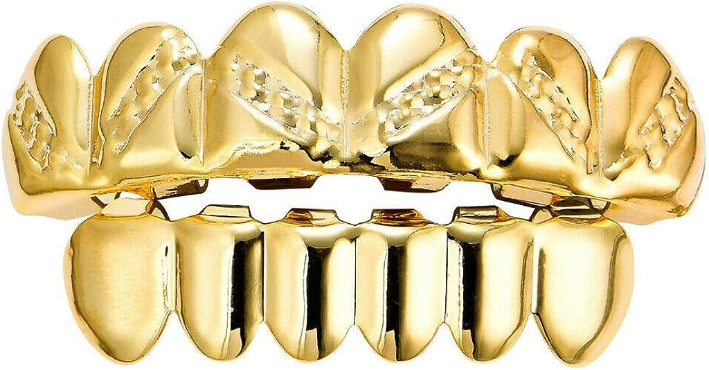 18K Rapper Punk Teeth Grills Top/Bottom Dental Grills Set Costume Decoration - Color: Golden