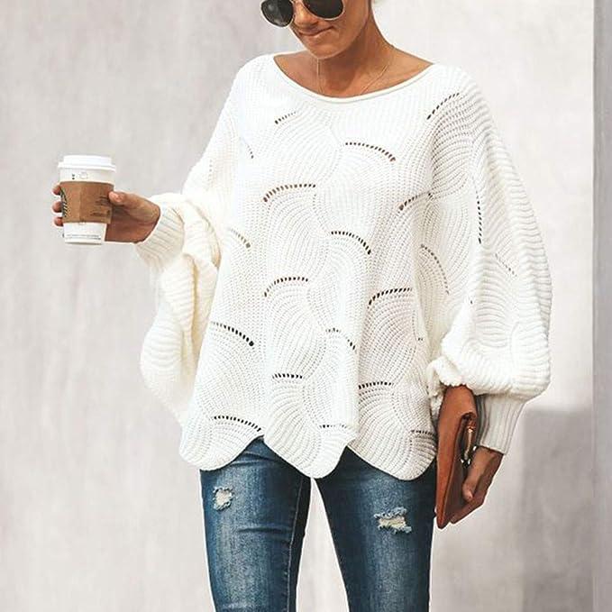 Luckycat Jerseys de Punto Mujer Sueter Tejido Señora Suéter Mujer Jersey Oversize Largo Sweaters Largos Sueteres Tejidos Pullover Gordos Sweater para ...