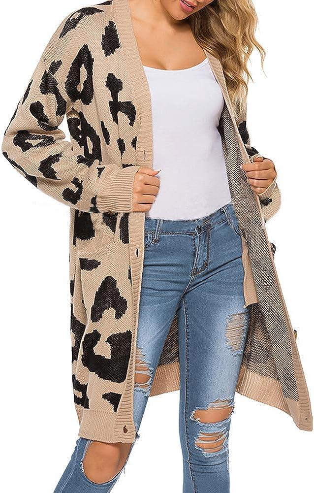 Open Front Sweaters Loose Knit,Women Leopard Cardigan Pockets Long Sleeve Coat