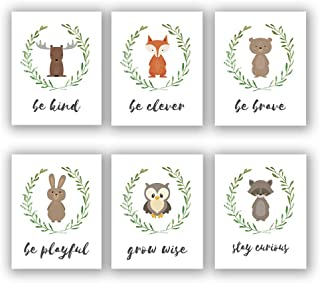 "Cartoon Animals Art Posters Set of 6 (8""X10"" Canvas Modern Inspirational Quote Art Wall Picture, Nursery Woodland Animals Prints for Lovely Kids Room Decor, No Frame"