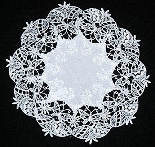 Lovely de Pâques rond blanc en dentelle brodée Napperon Serviette Set de table Chemin de table de 30–40 cm, Polyester, D1, 40 cm