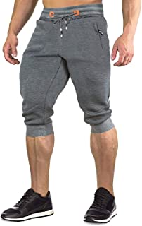 Men's 3/4 Casual Long Shorts Breathable Elastic Cotton Gym Short Pants with Zipper Pockets