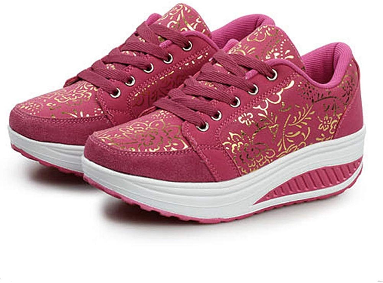 ASO-SLING Women's Toning Rocker shoes Platform Wedges Sneakers Mesh Lace Up Walking shoes