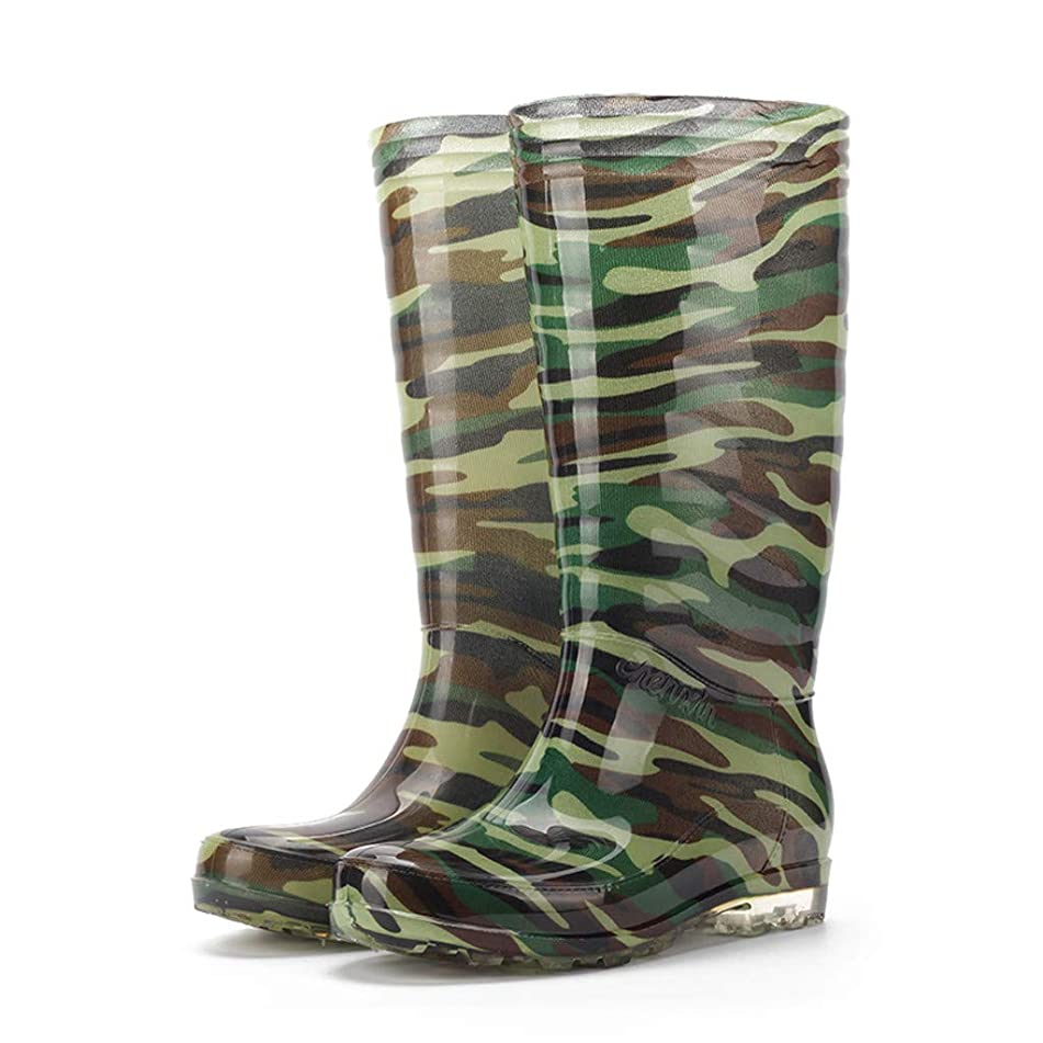 Mens's Short Rain Boots Aries Esther Leisure Men's Camouflage Flat Round Toe Shoes Waterproof Cylinder Rain Boot
